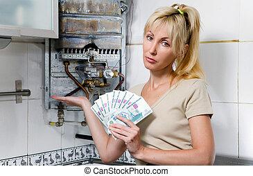 el, mujer triste, el, ama de casa, condes, arriba, dinero, para, reparación, de, un, gas, calentador de agua