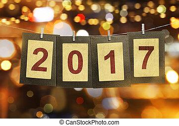 el, número, 2017, spelled, afuera, en, clothespin, acortado, tarjetas