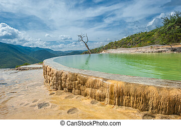 el, natural, formações rocha, hierve, estado, oaxaca, agua, mexicano