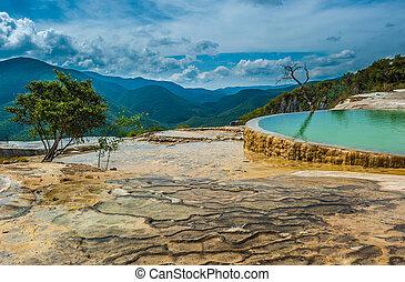el, natural, formações rocha, hierve, estado, oaxaca, agua,...