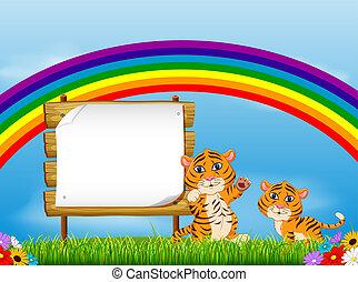 el, naturaleza, vista, con, el, tablero de madera, espacio sin expresión, y, dos, bebé, tigre, debajo, el arco iris