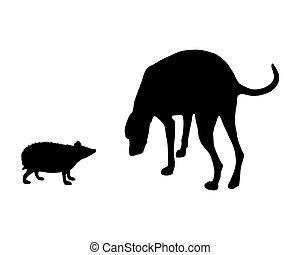 el, negro, siluetas, de, perro, y, erizo, blanco