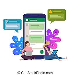 el, niña, al lado de, un, inmenso, teléfono., charla, en, social, red, en, el, internet., charla, con, amigos, en, el, messenger., móvil, device., moderno, gadget., comunicación, casual