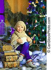 el, niña, cerca, un, navidad, abeto, 2