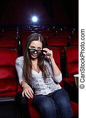 el, niña, en, anteojos de 3d