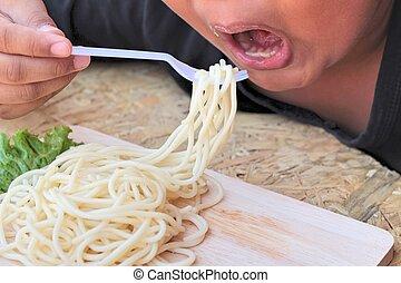 el, niño, comida, pastas, espaguetis