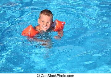 el, niño, flotadores, en, piscina