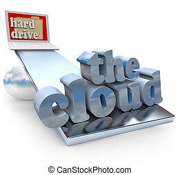 el, nube, contra, computadora, impulsión dura, -, local, o,...