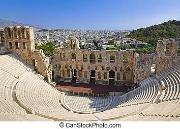 el, odeon, teatro, en, atenas, grecia