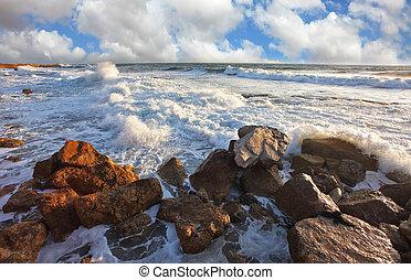 el, ondas, choque, contra, las rocas