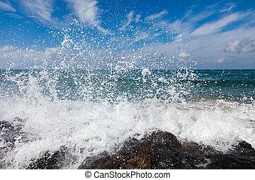 el, ondas, rotura, en, un, pedregoso, playa