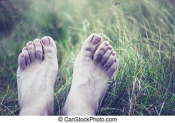 el, pálido, y, congelado, pies, de, un, joven
