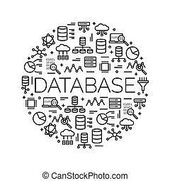 el, palabra, base de datos, rodeado, por, iconos, de, grande, datos, nube, informática, servidor, network…, vector, plano de fondo, illustration.