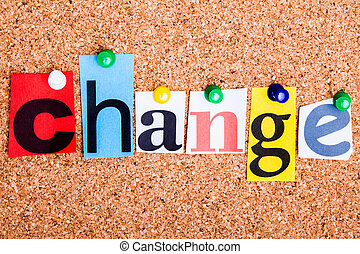 el, palabra, cambio, en, recortar, revista, cartas, fijado, a, un, corcho, no
