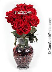 el, palabra, esperanza, en, plata, en, rosas rojas