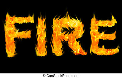 el, palabra, fuego, escrito, con, cartas, hecho, de, fuego