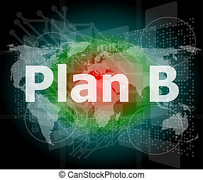 el, palabra, plan, b, en, digital, pantalla, concepto de la corporación mercantil