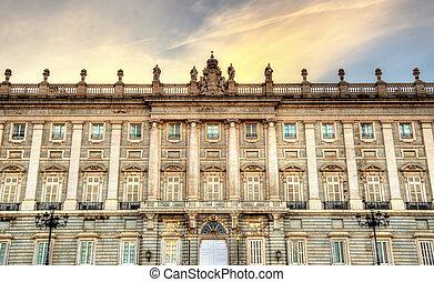 el, palacio real, de, madrid, en, españa