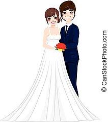 el par posar, asiático, boda
