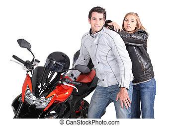 el par posar, motocicleta, luego