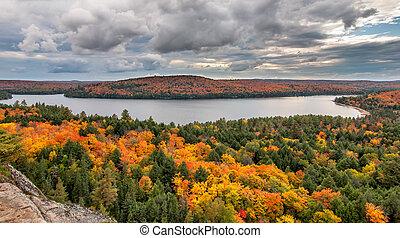 el pasar por alto, lago, árboles, otoño, cambiar, vista