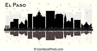 El Paso Texas City Skyline Silhouette with Bl;ack Buildings...
