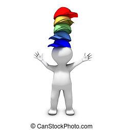 el, persona, llevando, muchos, sombreros, tiene, mucho, de,...