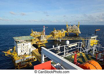 el, petróleo cercano costa, rig.
