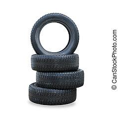 el, pila, de, cuatro, invierno, nuevo, neumáticos