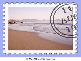 el, playa tropical, estampilla