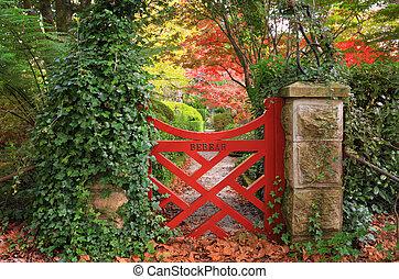 el, poco, rojo, puerta, en, bebeah, jardines