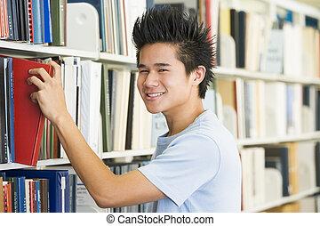 el, polc, könyvtár, field), vontatás, (depth, könyv, ember