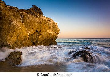 el, praia, pacífico, pedras, estado, oceânicos, ondas, matador