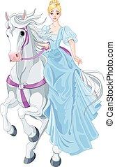 el, princesa, es, equitación, un, caballo