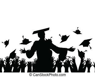 el, profesor, habla, discurso, en, el, escuela, final., un,...