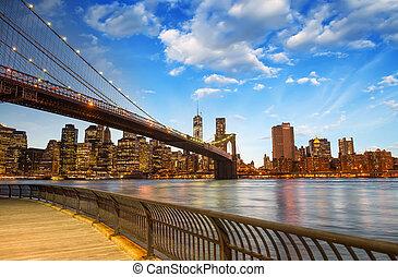 el, puente de brooklyn, en, ciudad nueva york
