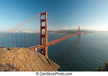 el, puente de la puerta de oro, en, san francisco, durante, el, ocaso