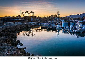 el, puerto, en, ocaso, en, santa barbara, california.