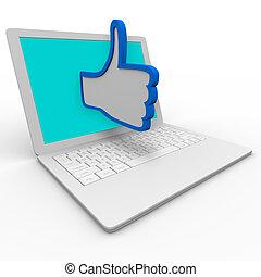 el pulgar está subido, símbolo, en, computadora de computadora portátil, bueno, internet, revisión