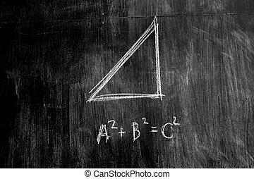 el, pythagorean, teorema, en, un, pizarra