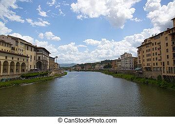 el, río arno, en, florencia, italia