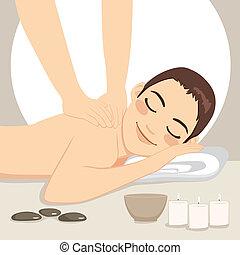 el relajar del hombre, masaje, balneario