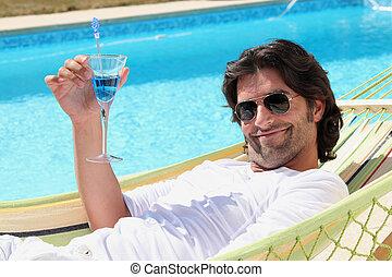 el relajar del hombre, por, el, piscina