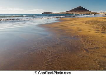 el, roja, montana, playa, medano, 海滩