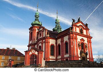 el, rojo, iglesia
