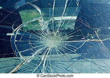 el, roto, parabrisas, en el coche, accidente