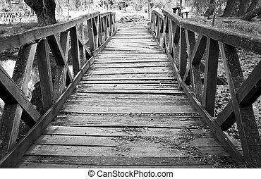 el, roto, puente de madera, en, europa