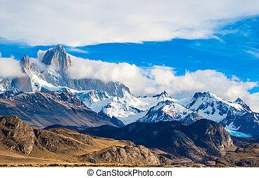 el, roy, parque nacional, fitz, glaciares, chalten, patagonia, argentina., montaña