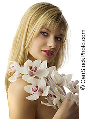 el, rubio, con, orquídea