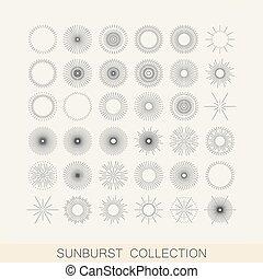 el, sätta, lätt, shapes., vektor, design, geometrisk, sunburst, stråle